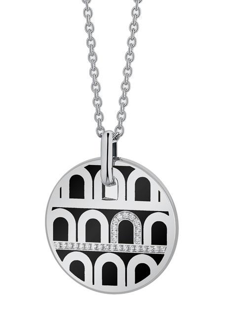 L'Arc de Davidor 18k White Gold Porta Diamond Pendant Necklace - Grand Model