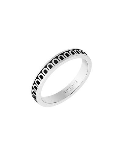 L'Arc de Davidor 18k White Gold Ring - Petite Model  Caviar  Sz. 6.5