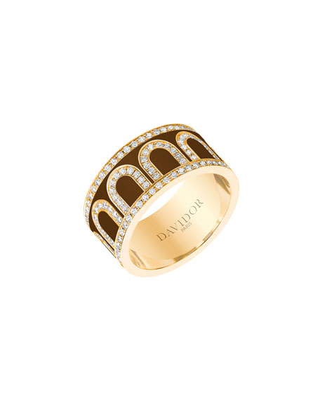 L'Arc de Davidor 18k Gold Diamond Ring - Grand Model, Cognac, Sz. 8