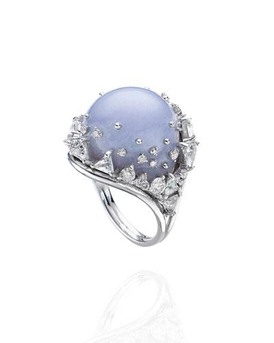 18k White Gold Fusion Chalcedony Ring w/ Diamonds  Size 7