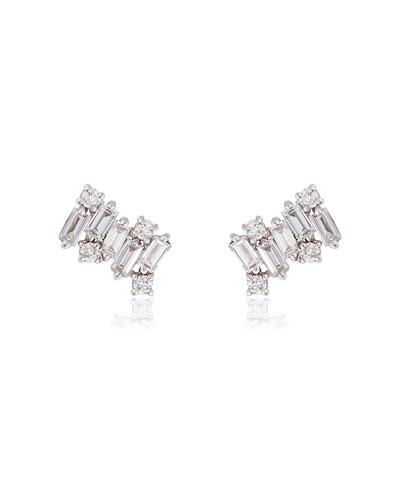Fireworks 18k White Gold Diamond Stud Earrings