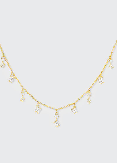 18k Yellow Gold Diamond Dangle Necklace