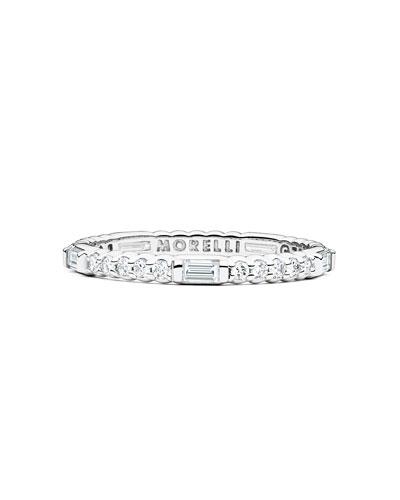 Pinpoint 18k White Gold Baguette Diamond Ring
