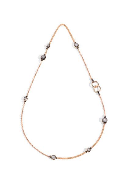 NUDO 18k Rose Gold Long Obsidian & Black Diamond Necklace, 35