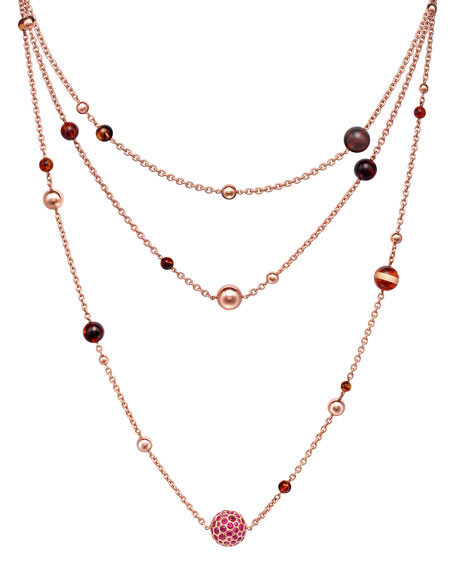 Boule 18k Rose Gold Necklace w/ Amber & Pink Sapphire