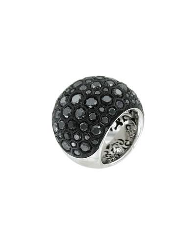 Boule 18k White Gold Ring w/ Black Diamonds