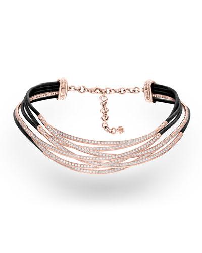 Allegra 18k Rose Gold & Leather Diamond Overlap Necklace