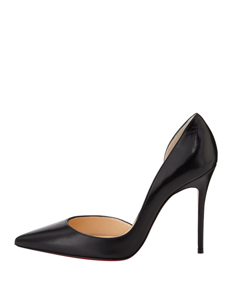 Iriza Red-Sole Half-d'Orsay Pump, Black