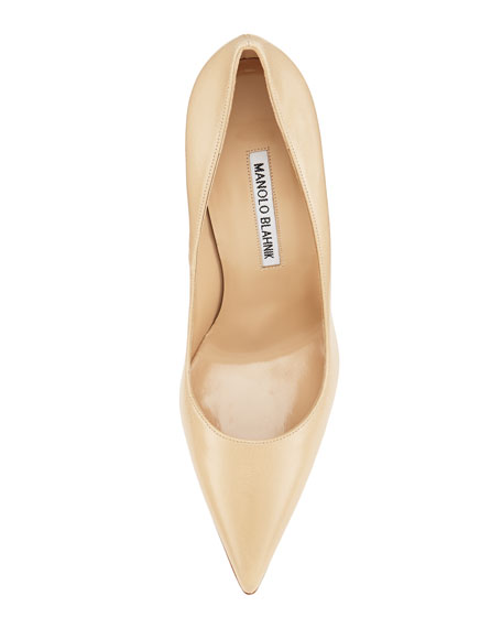 BB Leather Point-Toe Pump, Beige