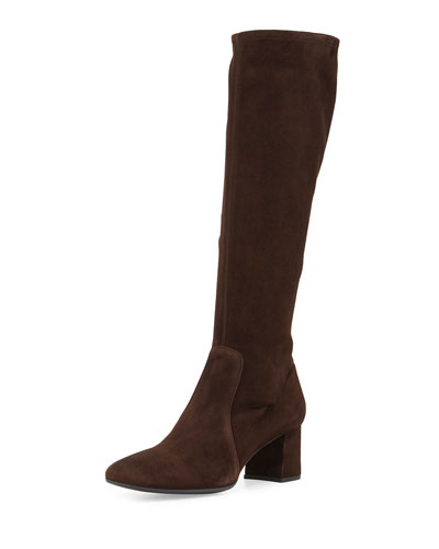Low-Heel Stretch Suede Knee Boot, Dark Brown
