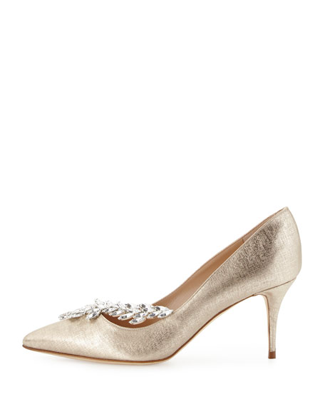 Nadira Vine Embellished Point-Toe Pump, Gold