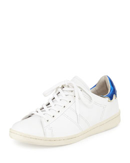 Flame-Detailed Leather Low-Top Sneaker, White