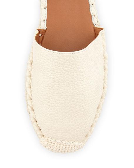 Rockstud Double Ankle-Wrap Flat Espadrille, Ivory