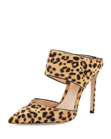 Point-Toe Leopard-Print Calf Hair Mule
