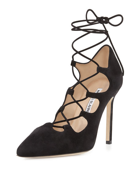 Rogustta Lace-Up Point-Toe Pump, Black