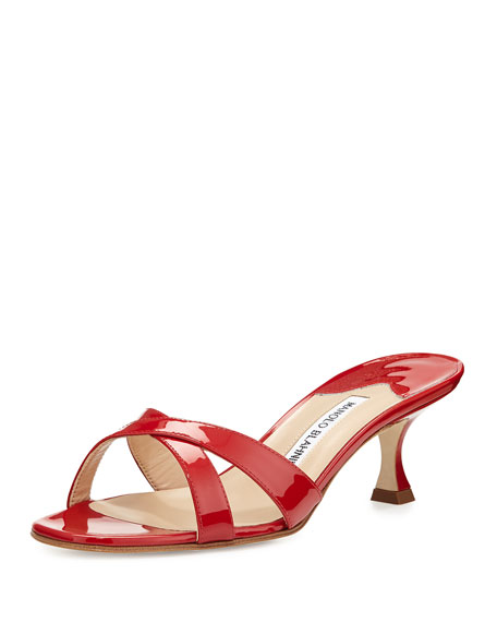 cheap real finishline for cheap online Manolo Blahnik Patent Slide Sandals XXegW