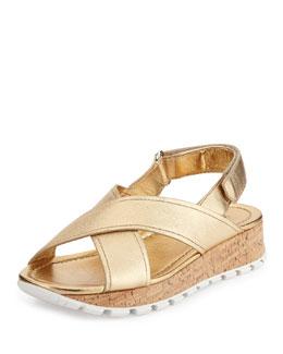 Metallic Crisscross Cork Flat Platform Sandal
