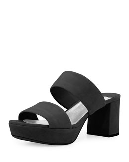 Double-Band Mid-Heel Suede Sandal, Black