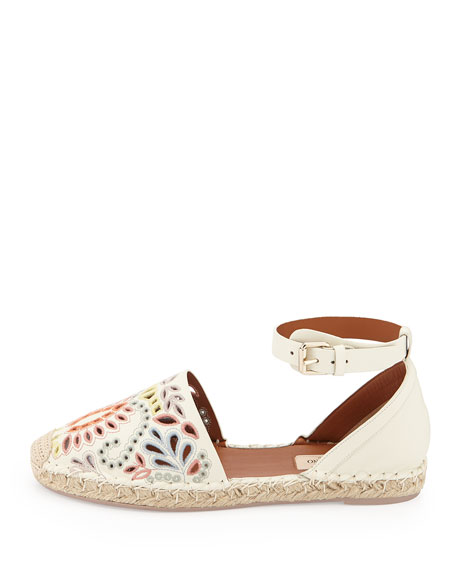 Floral-Embroidered Ankle-Wrap Espadrille, Ivory