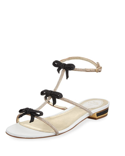 Crystal Bow T-Strap Sandal, Black/White