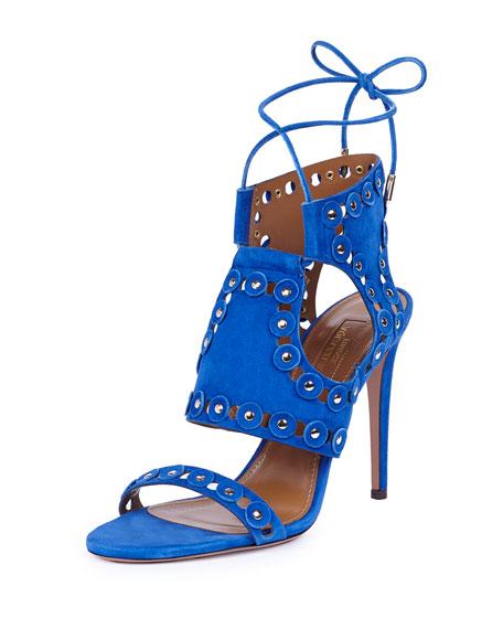 Rebel Studs Suede Sandal, Blue