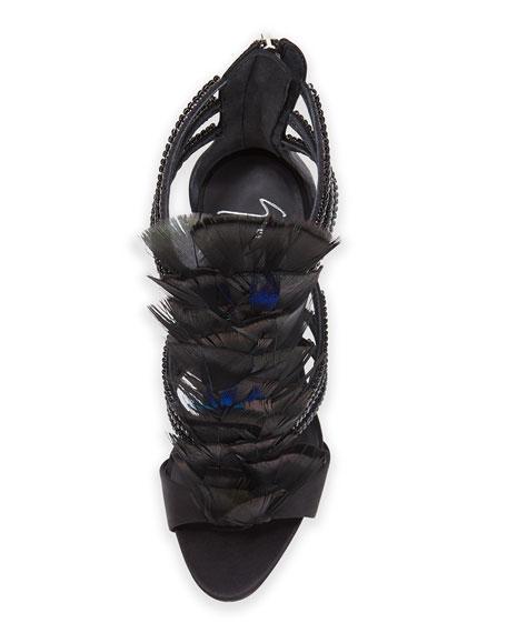Coline Crystal-Embellished Strappy Feather Sandal