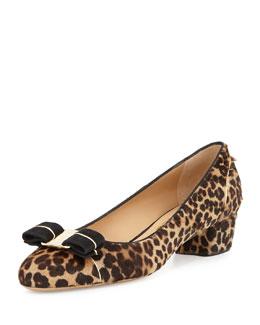 Vara Leopard-Print Calf Hair Bow Pump