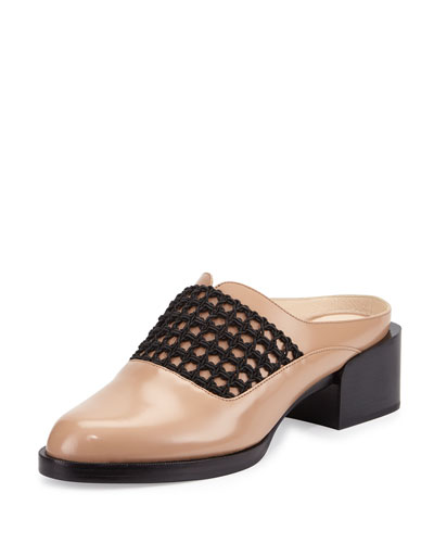 Claridge Open-Weave Leather Mule