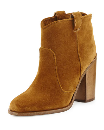 Pete Western Suede Ankle Boot, Camel