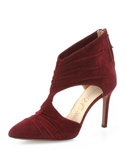 Matahari Pleated Cutout Point-Toe Bootie