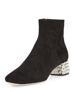 Jewel-Studded Block-Heel Ankle Boot