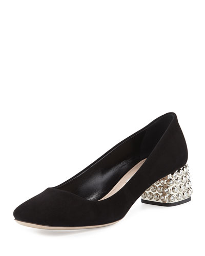 Jeweled Block Heel Pump