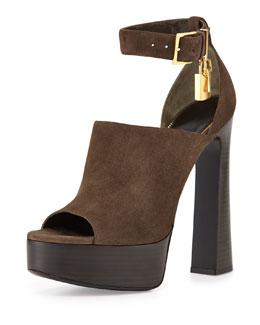Suede Padlock Chunky Sandal