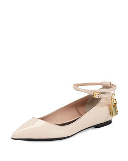 Padlock Patent Point-Toe Skimmer, Nude
