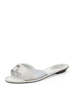 Strass-Embellished Sandal Slide, Gray
