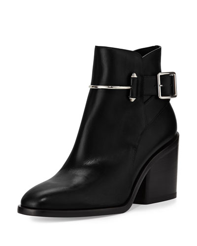 Smooth Leather Block-Heel Bootie