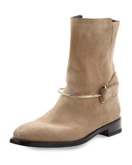 Metal-Bit Suede Ankle Boot