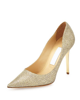 Abel Glitter Point-Toe Pump, Gold