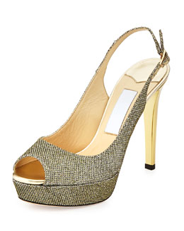 Verity Open-Toe Glitter Slingback Platform Sandal