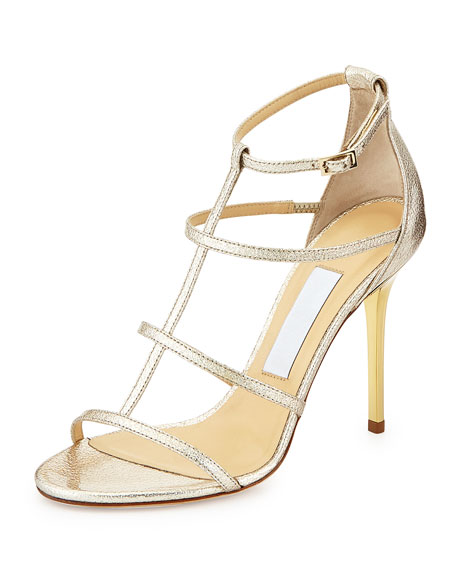 Dory Strappy Textured Metallic Sandal, Nude