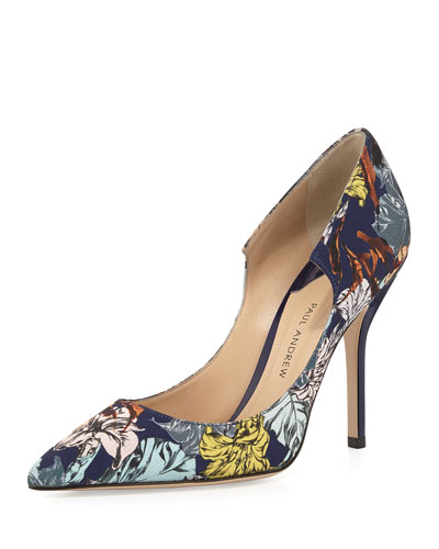 Manhattan Fabric Peaked Pump, Twilight Botanica