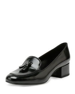 Leather Block-Heel Tassel Loafer