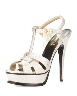 Tribute Metallic Leather Platform Sandal, Metallic Gray