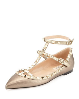 Rockstud Caged Ballerina Flat, Light Gold