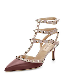 Rockstud Two-Tone Leather Sandal