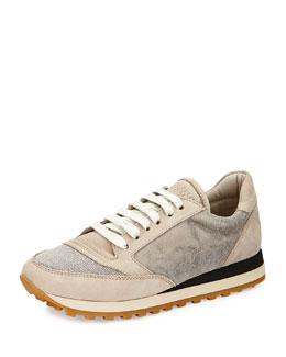 Monili Metallic-Inset Leather Sneaker