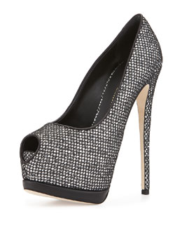 Sequined Platform Peep-Toe Pump, Silver