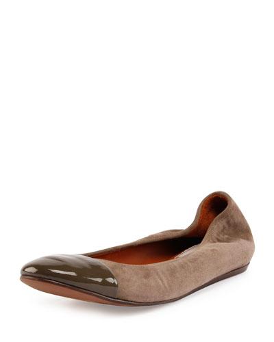 Suede Cap-Toe Ballerina Flat