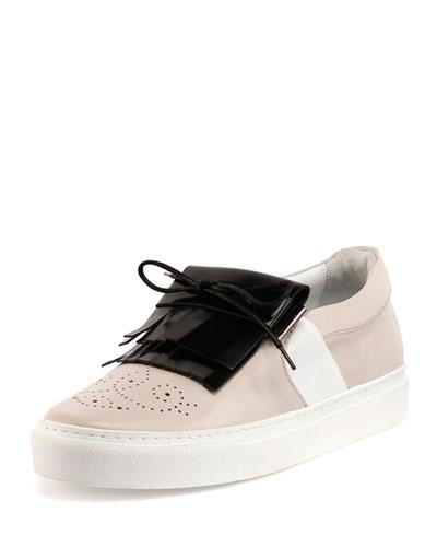 Kiltie Leather Slip-On Sneaker