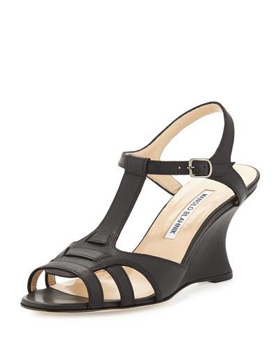 Hikenwedge T-Strap Wedge Sandal